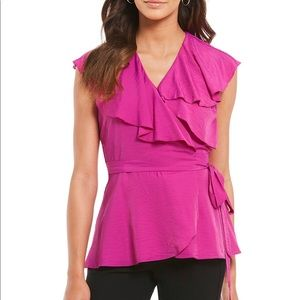 👚 H Halston pink Belted Ruffle Wrap Top